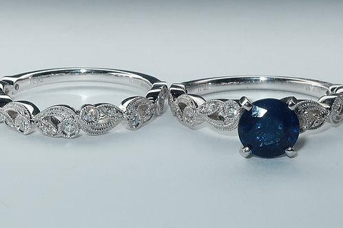 Victorian Style 14K white gold Sapphire & Diamond Engagement Ring & Wedding Band