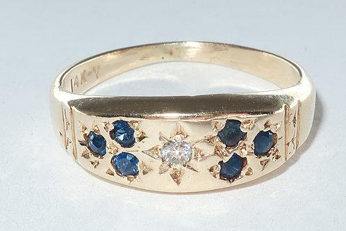 Diamond and Sapphire Ring, 14 karat Yellow Gold