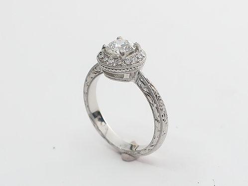 Ladies Art-Deco Design Platinum and  Diamond Engagement Ring. 0.90cttw