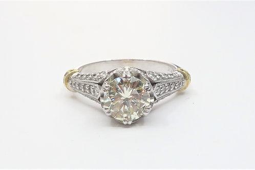 Victorian Style 18karat White/Yellow  Gold  Diamond Engagement  Ring