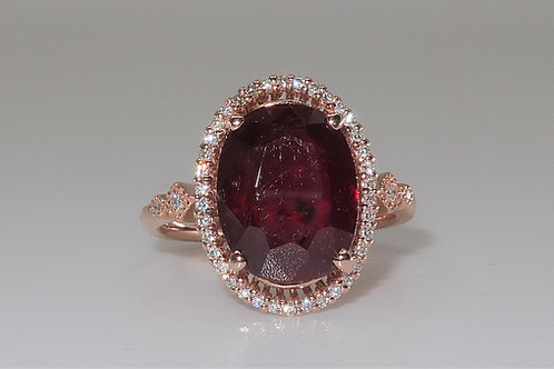 Ladies Halo Design Ruby and Diamond Ring
