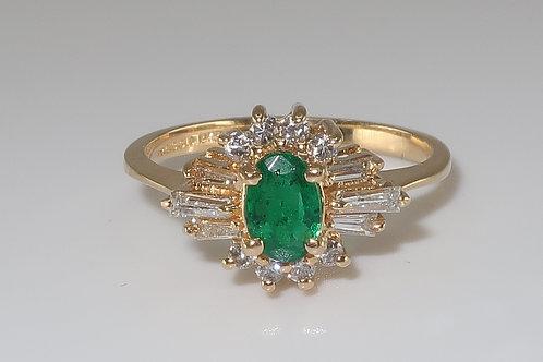 Fine Natural Emerald & Diamond Ring 1.00cttw