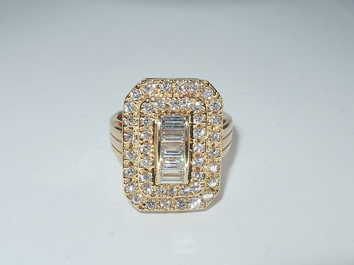 Art Deco Style Triple Row Lady s Diamond Engagement Ring in 14karat Yellow gold