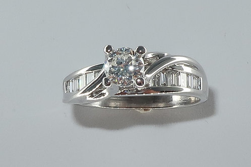 14Karat White Gold 1.07CTTW Round Brilliant Cut & Baguette Diamond Engagement