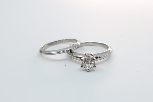 Ladies Tiffany's Solitaire Diamond Engagement Ring and Wedding Band