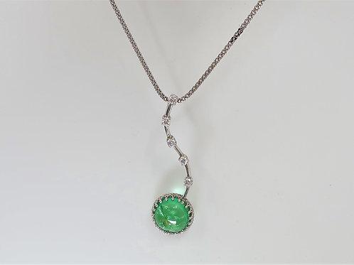 Cabochon Cut Emerald and Diamond Pendent