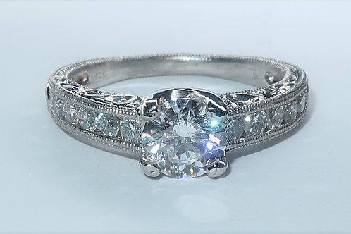 Art-deco Style Platinum and Diamond Engagement Ring