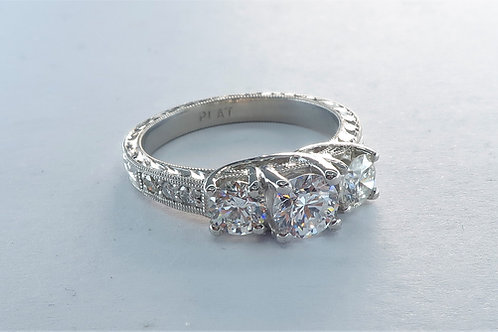 Art deco Style Past, Present and Future 3 Diamonds Engagement Ring.