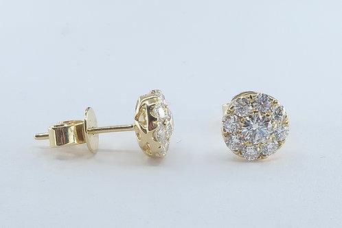 Halo Design Diamond Earrings 1.00cttw