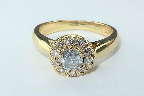 18karat yellow gold Halo Diamond Ring