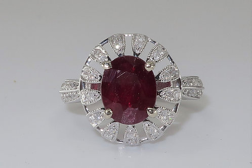 Art Nouveau Halo design Ruby and Diamond Ring