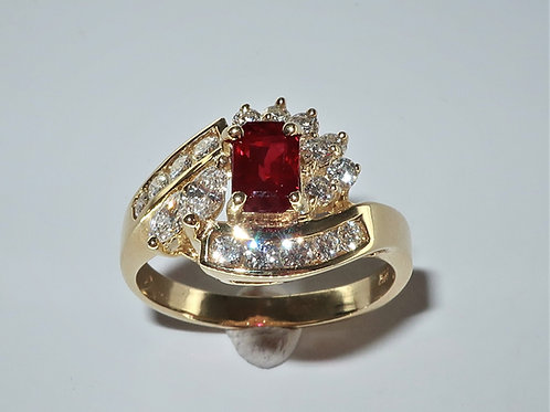 Lady's Retro Ruby and Diamond Ring. 1.1/3cttw