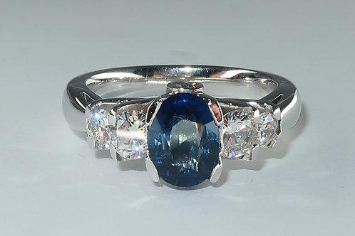 Ladies Sapphire & Diamonds Engagement / Anniversary Ring. 2.15cttw