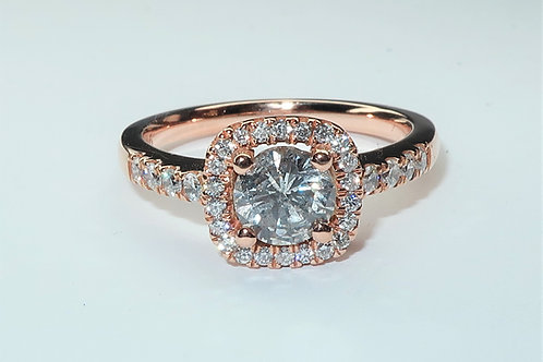 18 Karat Rose Gold Ladies Halo Design Diamond Engagement Ring