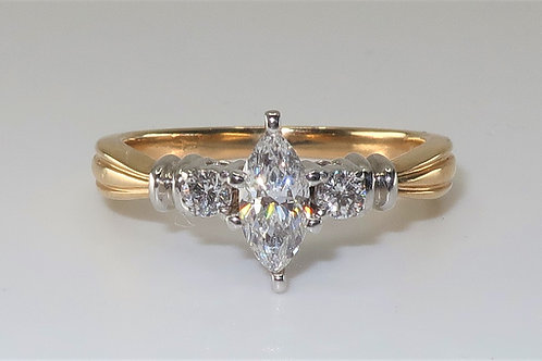 Retro Marquise and Round Diamond ring 0.60 cttw