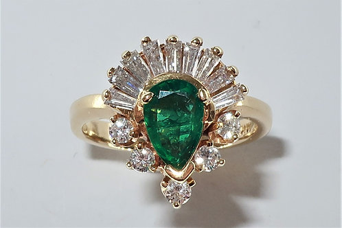 Victorian Revival Lady's Emerald, Diamond, 14 karat Yellow Gold Ring