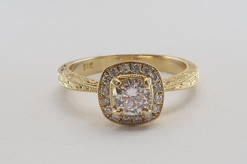 Art-Deco Style 18 karat Yellow gold Diamond Engagement Ring. 3/4cttw