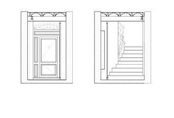 Interior elevation - technical drawing - heritage interior design project