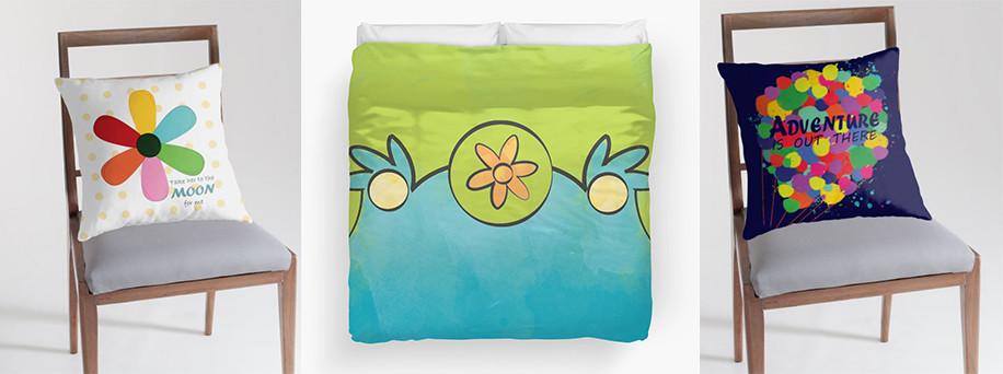 Geek interior design - pillows and dubets