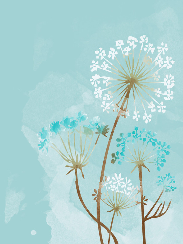 Dandelion in turquoise - watercolour design