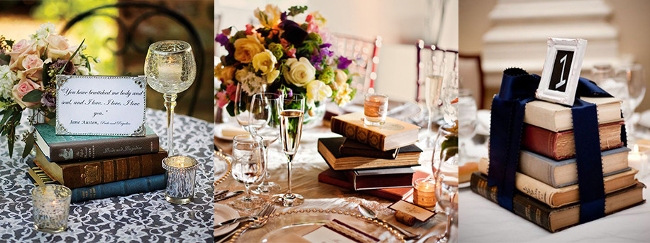 Books centerpieces - Gathering Thoughts