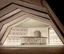 White model -  set design project - The Name of the Wind interior of the library