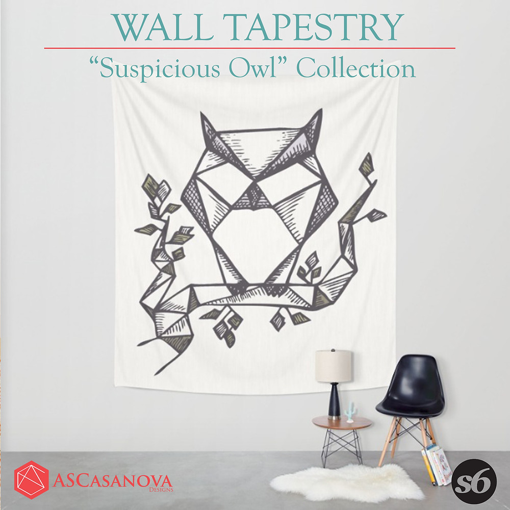 Suspicious Owl Wall tapestry