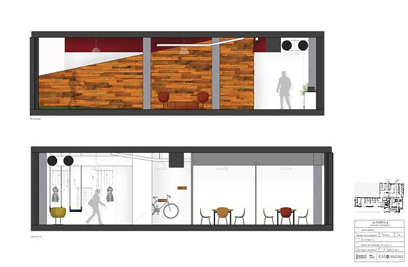 Section elevation - Co-working space - Interior design