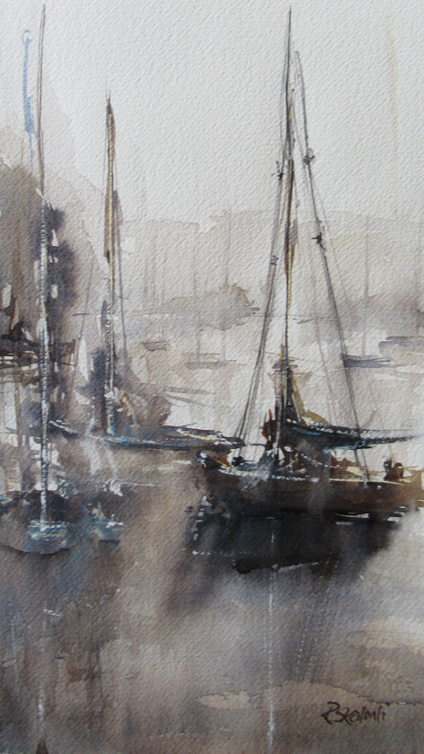 Quiet, Misty Harbour, water lapping against the boats