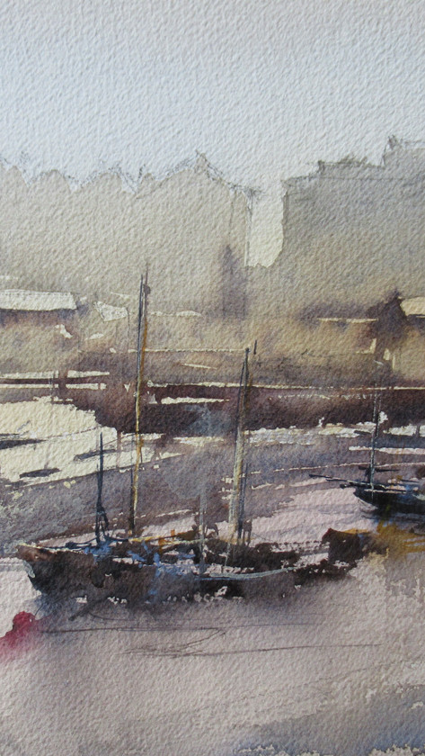 On the Harbour Wall, looking at the stillness of the boats