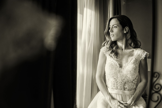 Bride near the window