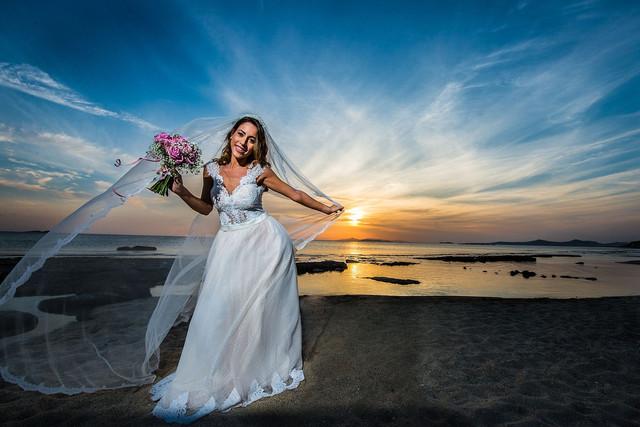 Bride on sunset