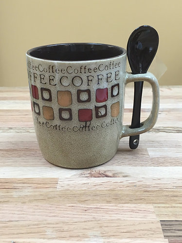 12 oz. Coffee Word Design Ceramic Mugs With Spoon