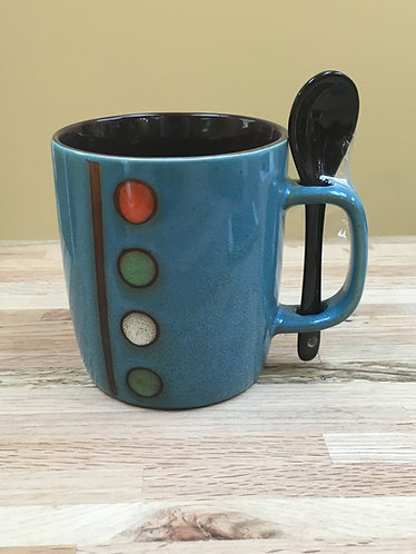 12 oz. Circle Design Ceramic Mugs With Spoon