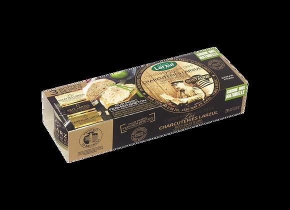 LOT DE 3 PÂTÉS (1 pâté, 1 rillettes, 1 pâté de campagne) - 375g