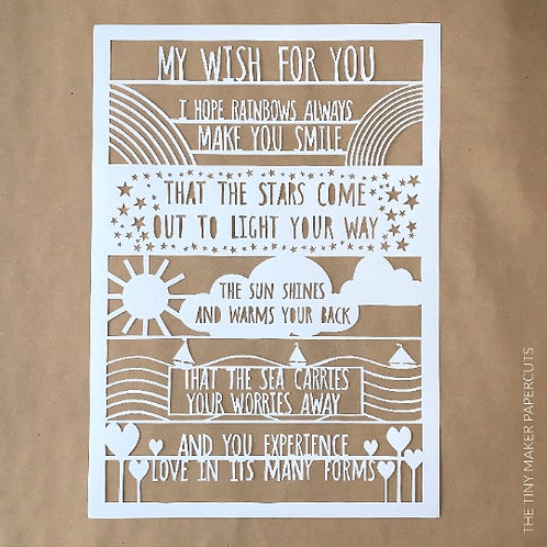 My wish for you Handcut Papercut - Framed