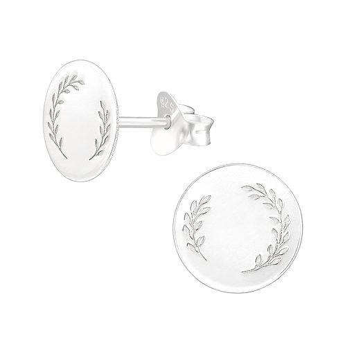 Leaf engraved cicrle earrings