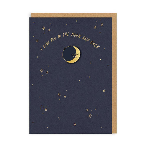 To the moon & back enamel pin card