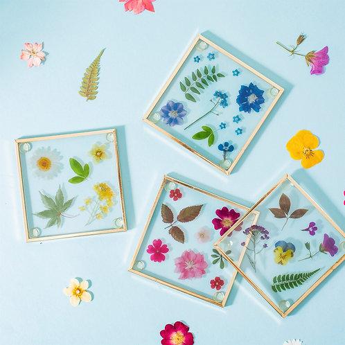 Glass pressed flower coaster set