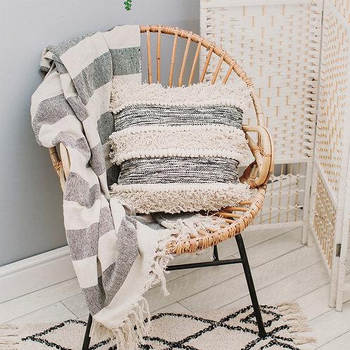 Scandi boho grey stripe blanket throw