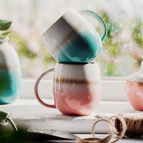 Turquoise dip glazed ombre mug