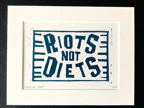 Riots not Diets: Original Lino cut print