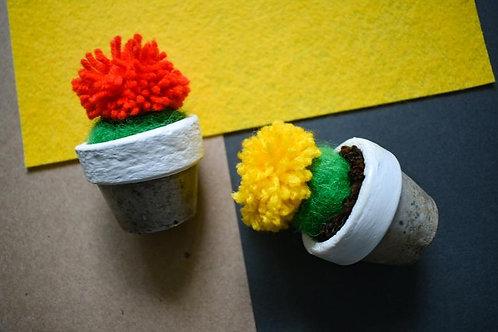 Tiny Felted Barrel Cactus