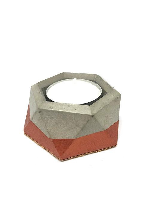 Hexagonal Concrete Tea Light Holder in Copper