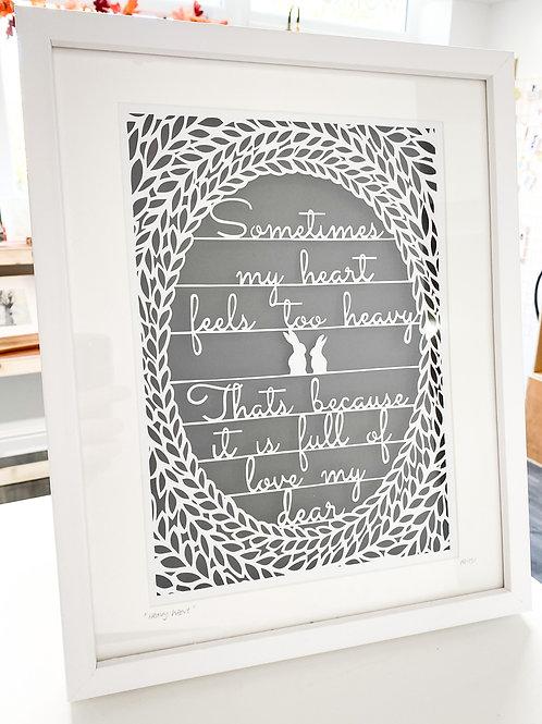 My heavy heart - Handcut Papercut - Framed