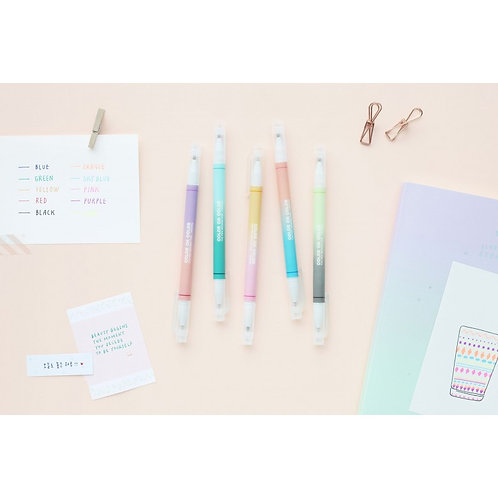 Set of 5 twin tip deco pens: 10 colours