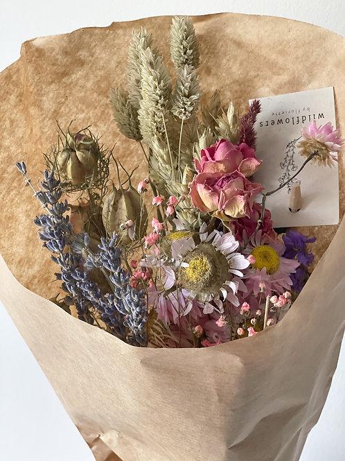 Pink dried wildflower bouquet