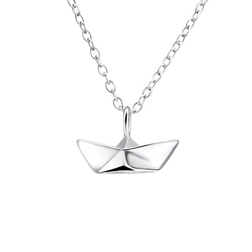 Paper boat origami necklace