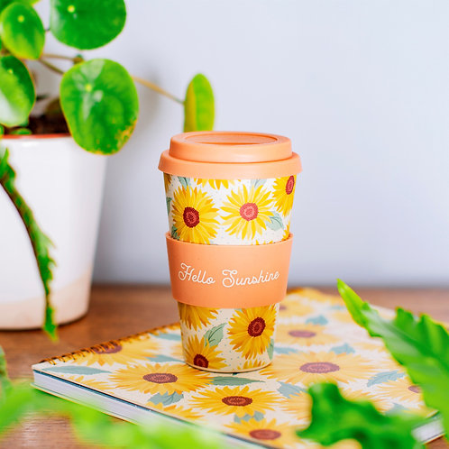 Sunflower bamboo travel mug