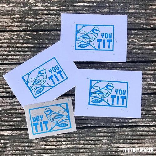 You tit: Original Lino cut print